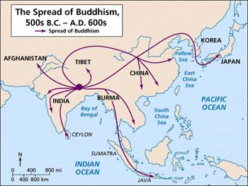 This map shows the where Zen originated and the major areas of expansion.